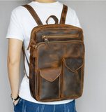 TWENTY FOUR STREET 14 INCHES DURABLE VINTAGE CANVAS LEATHER BACKPACK - boopdo
