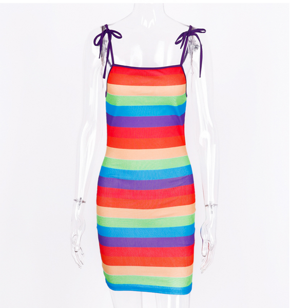 SHEMODA BUZI FRENCH STYLE STRAP DRESS IN RAINBOW COLORWAY - boopdo