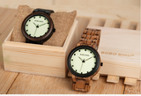 BOBO BIRD HANDMADE CLASSIC RETRO LUMINOUS WOODEN WATCH