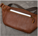 TWENTY FOUR STREET LAYER COWHIDE LEATHER DUAL USE CHEST MESSENGER BAG - boopdo