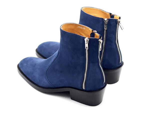 JINIWU VANGUARD WUBAO MATTE LEATHER BOOTS IN BLUE - boopdo