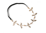 ZEGL ROSE GOLD PLATED LEAF DESIGN HAIR CROWN HEADBAND - boopdo