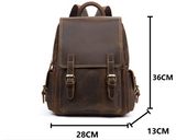 MANTIME BULIXIPA HANDMADE OUTDOOR 14 INCH LEATHER BACKPACK IN KHAKI BROWN - boopdo
