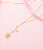 JELLY GIRL 18K GOLD NECKLACE WITH FLOWERS AND CRYSTAL PENDANT - boopdo
