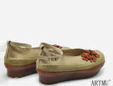 ARTMU EMBELLISHED DEIGN FLATFORM SHOES WITH ANKLE STRAP - boopdo