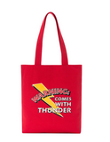 TOYOUTH WARNING COMES WITH THUNDER TOTE BAG M8742826054a RED BLUE WHITE - boopdo