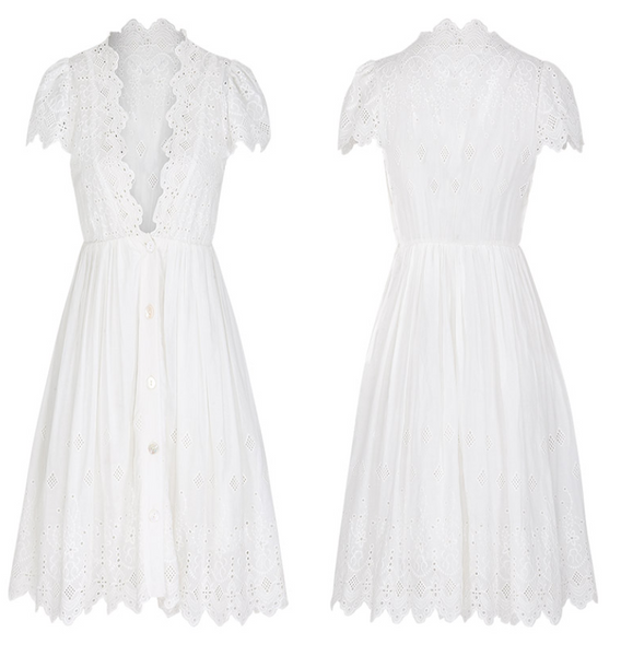 SINCE THEN PLUNGE NECK BUTTON FRONT TEA DRESS IN WHITE