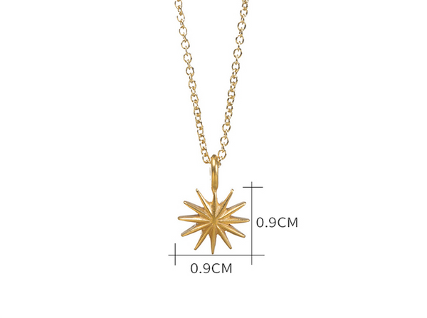 JELLY GIRL 14K GOLD PLATED STARBURST PENDANT NECKLACE - boopdo
