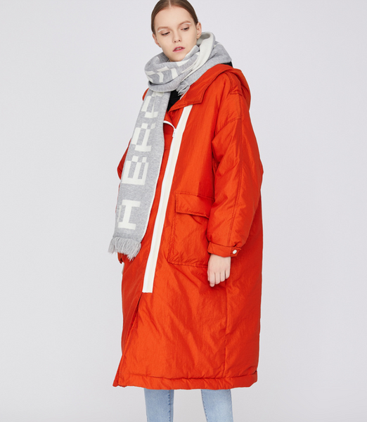 TOYOUTH BORG LINED OVERSIZE MAXI PARKA WITH WHITE ZIP LINE