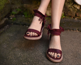 ARTMU WIDE FIT ANKLE TIE WEDGE SANDALS IN BURGUNDY
