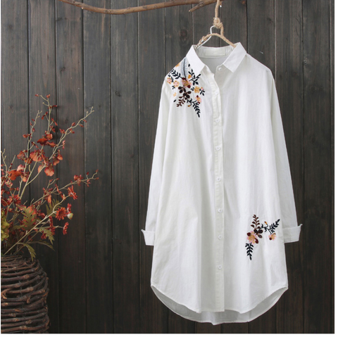 AUTUMN VINTAGE INSPIRED LONG LINE EMBROIDERED BLOUSE