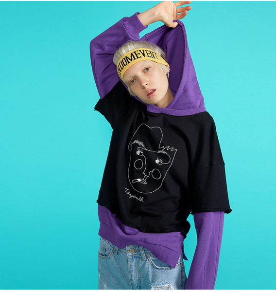 TOYOUTH TWO FER OVERSIZE HOODIE 8830521049 BLUEWHITE BLACKPURPLE