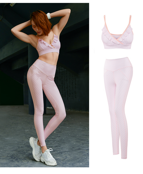 MIP TRAINING STRIPE LEGGINGS WITH PUSH UP SPORTS BRA IN PINK
