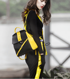 OMTO COLOR BLOCK BACKPACK WITH YELLOW BUCKLE DETAIL 827023101