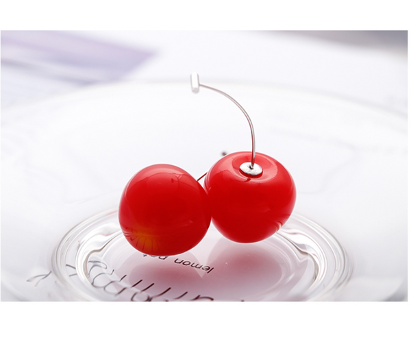 SILVER OF LIFE PULL TROUGH EARRINGS WITH CHERRY DESIGN - boopdo