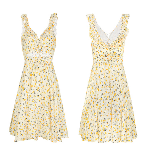 SINCE THEN DITSY FLOWER PRINT CUT OUT MINI SUNDRESS