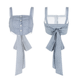 SINCE THEN BUTTON FRONT TIE BACK CROP TOP IN POLKA DOT