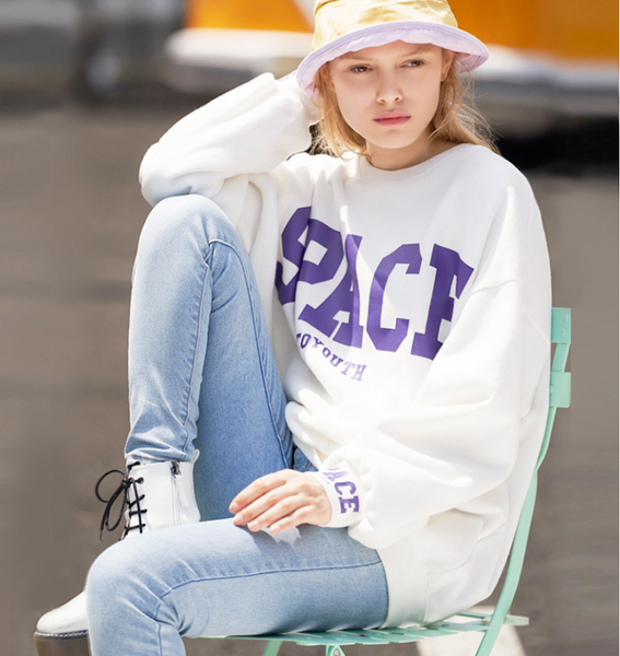 TOYOUTH EDITION SPACE LETTERS PRINT LOOSE SWEATSHIRT8840521015a