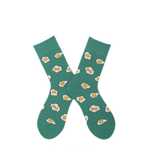 ACALEN EGG PRINT BOOT SOCKS IN GREEN - boopdo
