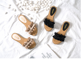 BOOPDO DESIGN FRILL DETAIL BOW SANDALS - boopdo