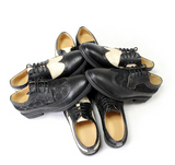 JINIWU VANGUARD AWARD WINNING MASTERPIECE EMBROIDERED LEATHER SHOES IN BLACK AND BEIGE