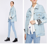 TOYOUTH CURVE LONG DENIM JACKET WITH FLORAL EMBROIDERED - boopdo