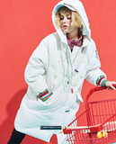 MAXMARTIN WHITE OVERSIZE PUFFER COAT WITH LETTERS AND ZIP DETAIL M85084R041 - boopdo