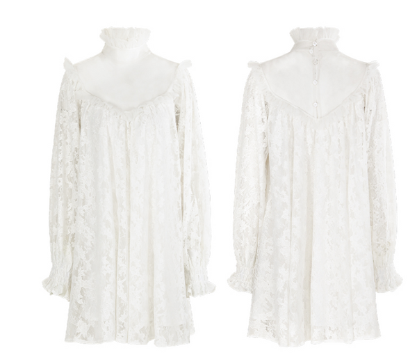 SINCE THEN ALL OVER LACE HIGH NECK MINI TEA DRESS IN WHITE