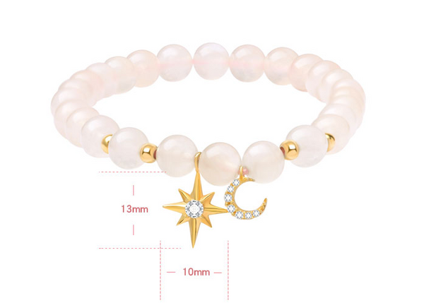 JELLY GIRL BEADED BRACELET WITH CRYSTAL MOON AND STAR
