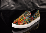 SUDEA TWERKY SHINY JELLY CONTRAST COLOR CASUAL LEATHER SNEAKERS WITH RIVET - boopdo