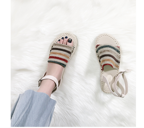 BOOPDO DESIGN ESPADRILLE ANKLE STRAP SANDALS IN STRIPE - boopdo