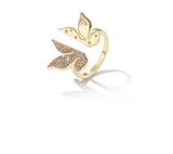 ZEGL AUTUMNAL LEAF DESIGN OPEN RING IN GOLD