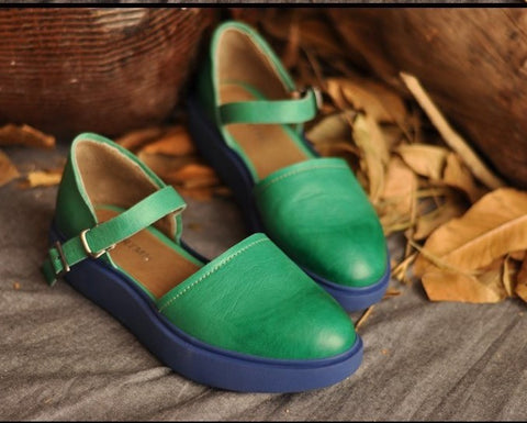 ARTMU LEATHER FLATFORM SANDALS IN GREEN AND BLUE