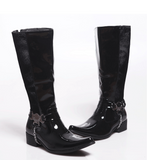 FULIXULO CAMBOP MID HEEL HIGH BOOTS WITH CHAIN