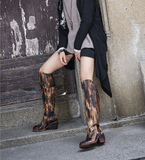 SPRING BLOSSOMS VINTAGE LEATHER HEELED KNEE HIGH BOOTS