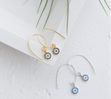 SILVER OF LIFE SILVER WITH GOLD PLATE EVIL EYE DESIGN DROP EARRINGS - boopdo