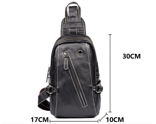 MANTIME CHEST MESSENGER LAMINATED ZIPPER LEATHER BAG IN BLACK