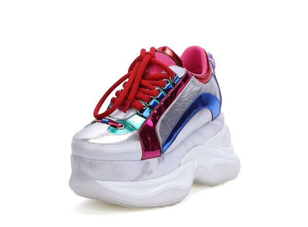 FOXY CHIC OWUSU VITAL DESIGN CHUNKY SOLE LEATHER SNEAKER - boopdo