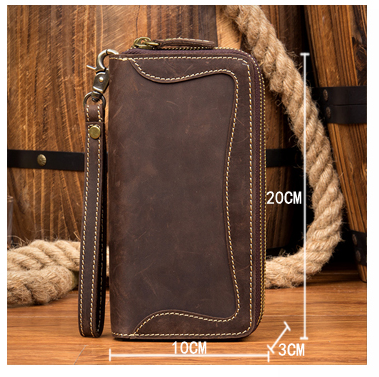 BOOPDO DESIGN MAN TIME HANDMADE LEATHER WALLET WITH DOUBLE ZIPPER