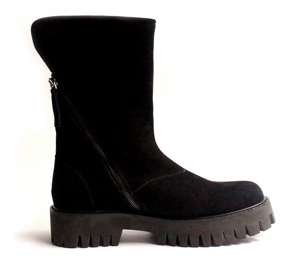 JINIWU VANGUARD BOISH DOUBLE ZIPPER THICK SOLED PLATFORM LEATHER BOOTS IN BLACK - boopdo
