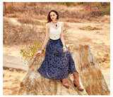 ARTKA CROCHET LACE MAXI SKIRT IN NAVY