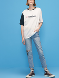 TOYOUTH COLOR BLOCK LETTERS PRINT ORGANIC COTTON T SHIRT 8820121050 - boopdo