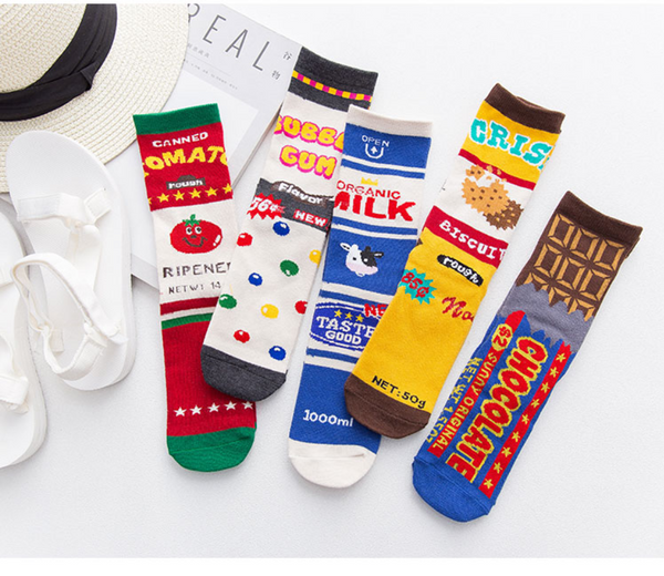 BOOPDO DESIGN JUNK FOOD AND LOGO PRINT SOCKS - boopdo