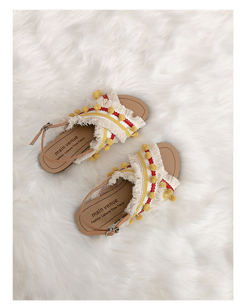 BOOPDO DESIGN CROSS OVER FLAT SANDALS WITH TASSEL AND POM POM DETAIL - boopdo