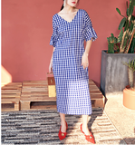 8GIRLS V NECK CHECK MIDI DRESS - boopdo