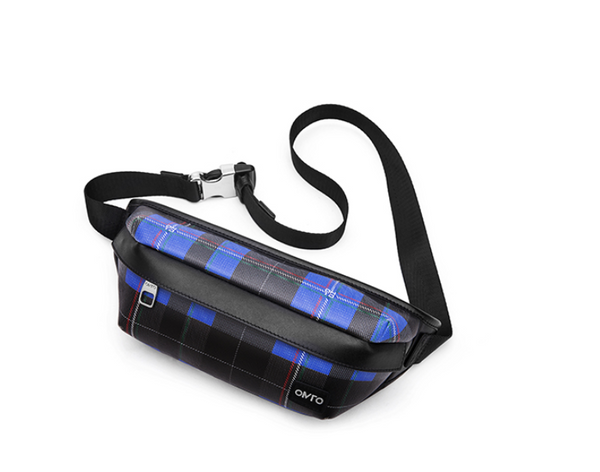 OMTO ZIPPED PVC BELT BAG IN BLUE CHECK 828021369A - boopdo