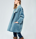ARTKA BORG LINED FAUX SUEDE COAT IN NAVY