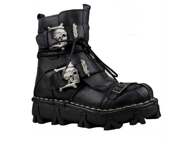 BOSETO SKULL IRON PIN SHIGAO MOTO RIDER BLACK FAUX LEATHER BOOTS - boopdo
