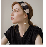 SHES HANDMADE SEQUIN WIDE HEADBAND IN BLACK WHITE STRIPE SHD9201976 - boopdo