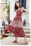 ARTKA FLORAL AND SCARF PRINT MAXI DRESS - boopdo